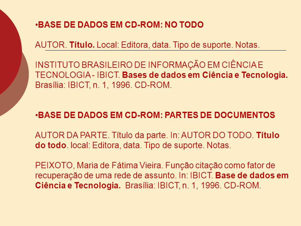 BASE DE DADOS EM CD-ROM: NO TODO