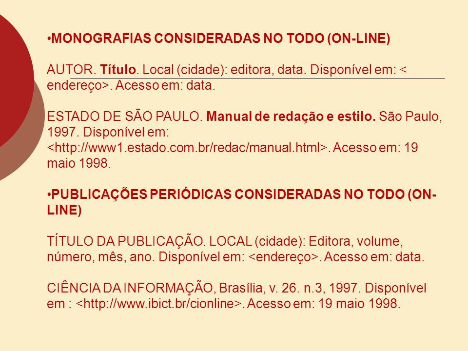 MONOGRAFIAS CONSIDERADAS NO TODO (ON-LINE)