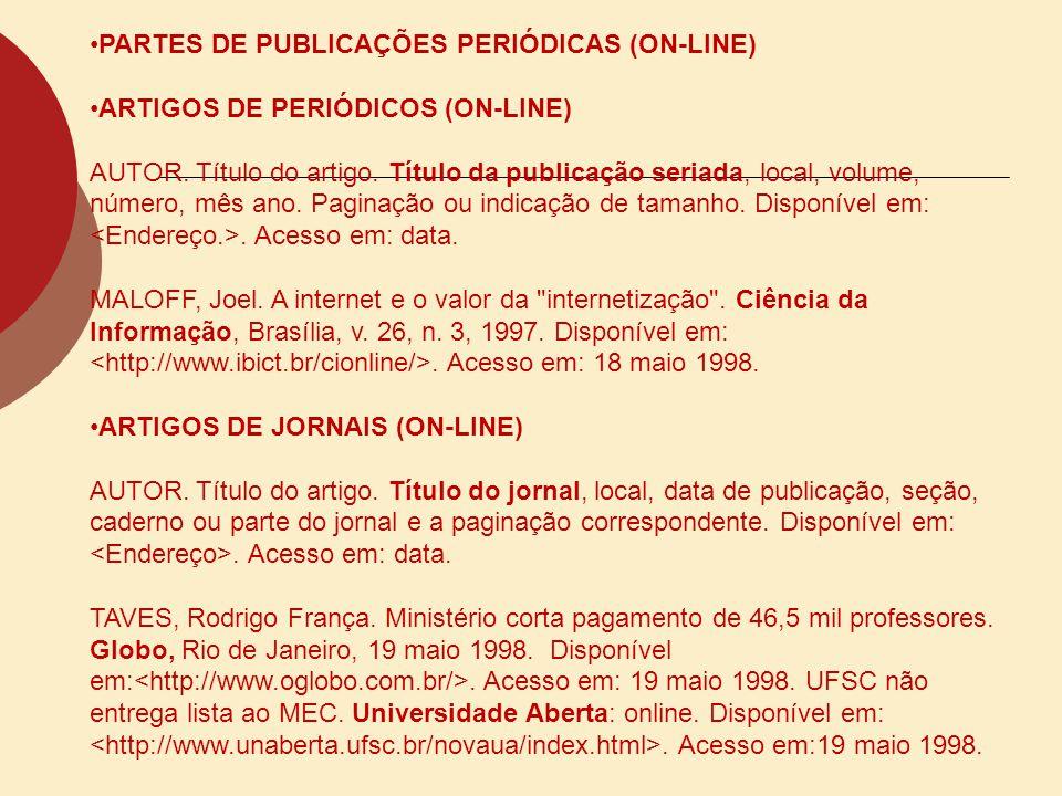 PARTES DE PUBLICAÇÕES PERIÓDICAS (ON-LINE)
