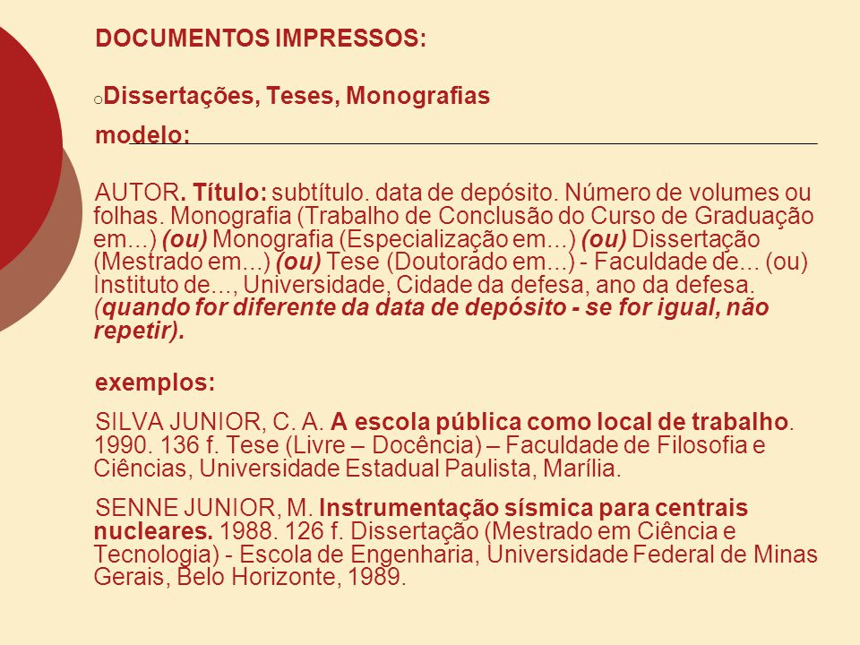 DOCUMENTOS IMPRESSOS: