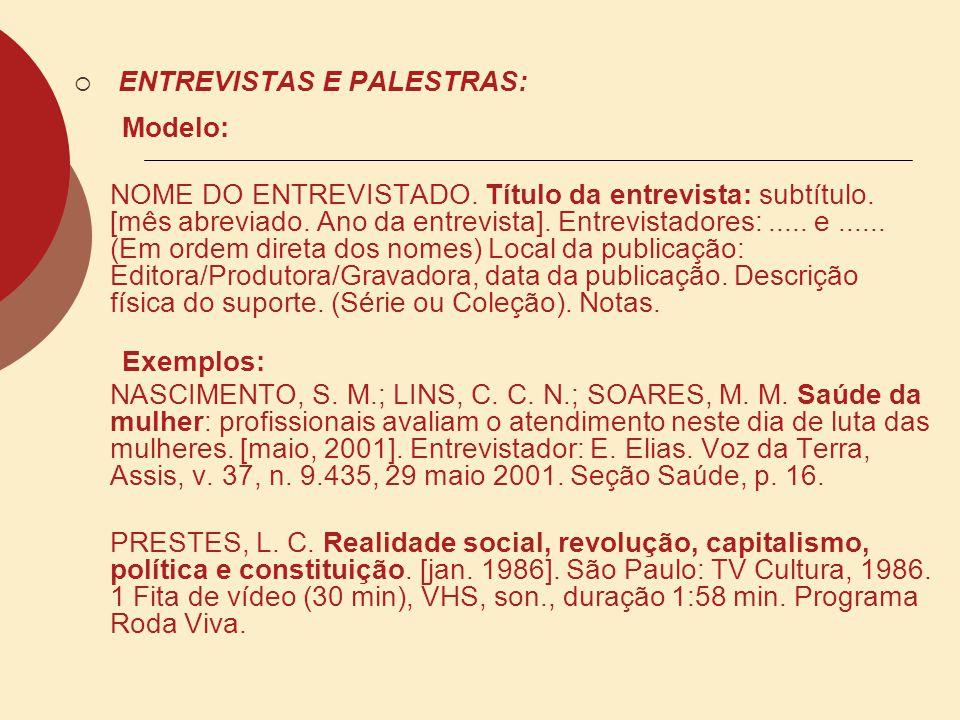 ENTREVISTAS E PALESTRAS: