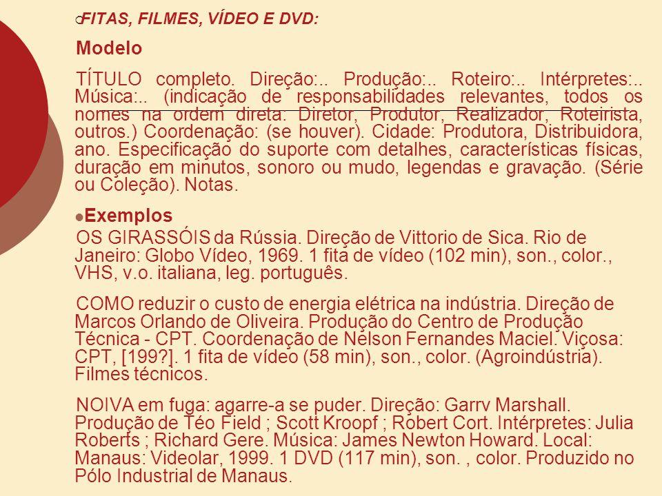 FITAS, FILMES, VÍDEO E DVD:
