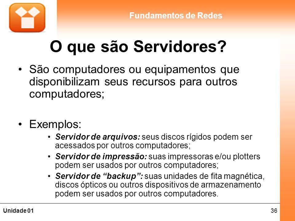O que são Servidores São computadores ou equipamentos que disponibilizam seus recursos para outros computadores;