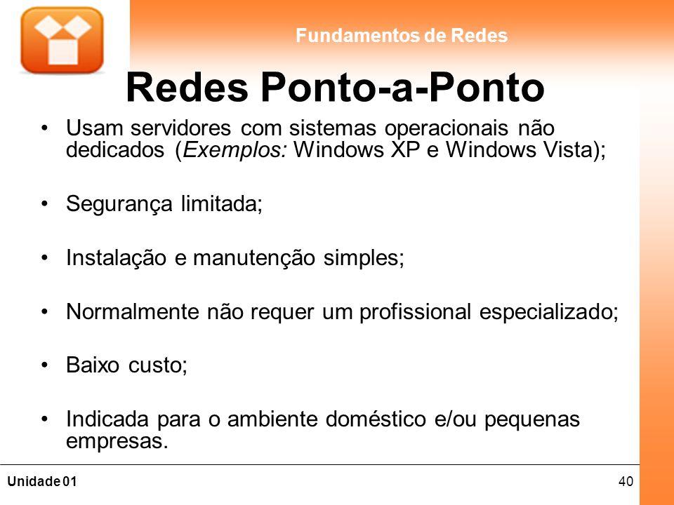 Redes Ponto-a-Ponto Usam servidores com sistemas operacionais não dedicados (Exemplos: Windows XP e Windows Vista);