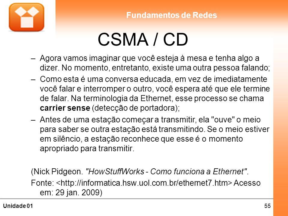 CSMA / CD Agora vamos imaginar que você esteja à mesa e tenha algo a dizer. No momento, entretanto, existe uma outra pessoa falando;