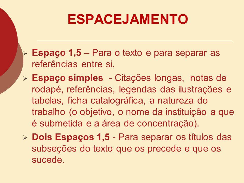 ESPACEJAMENTO Espaço 1,5 – Para o texto e para separar as referências entre si.