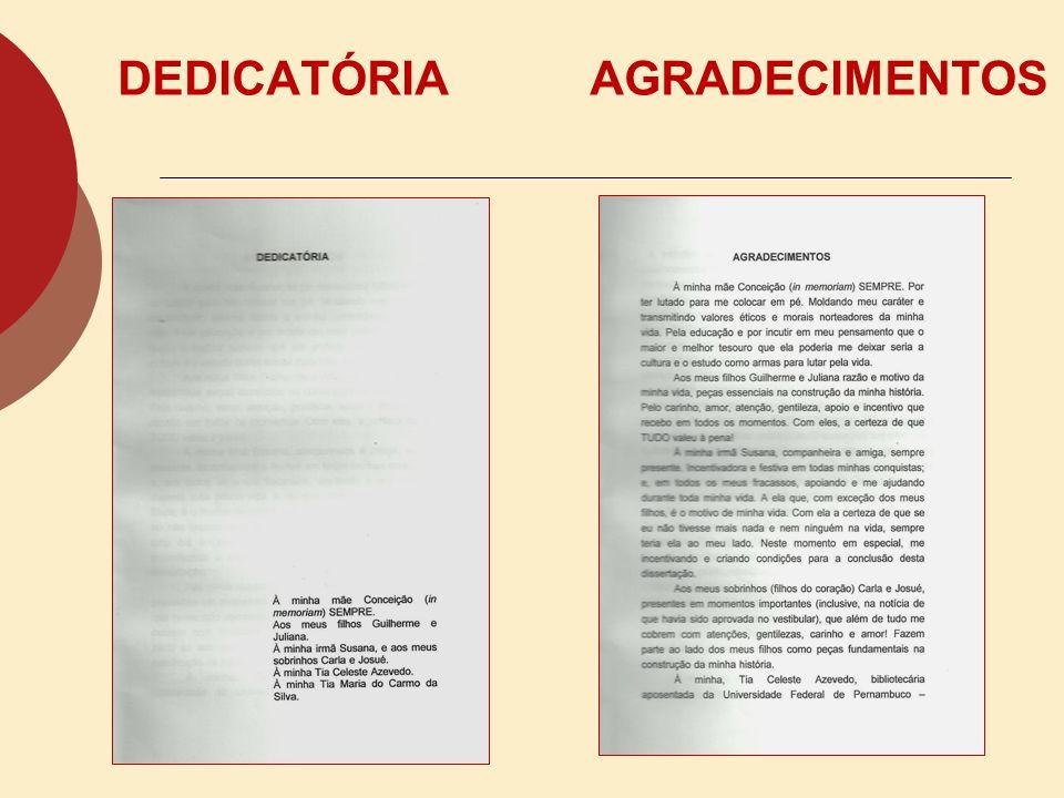 DEDICATÓRIA AGRADECIMENTOS