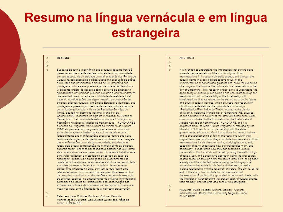 Resumo na língua vernácula e em língua estrangeira