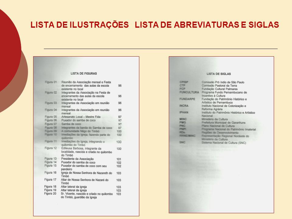 LISTA DE ILUSTRAÇÕES LISTA DE ABREVIATURAS E SIGLAS