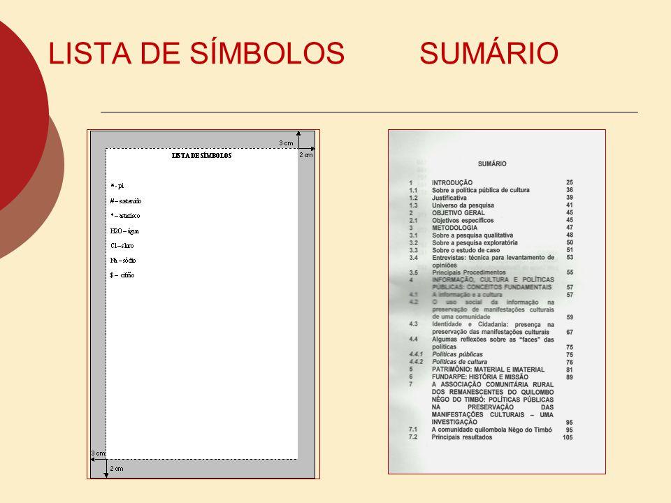 LISTA DE SÍMBOLOS SUMÁRIO