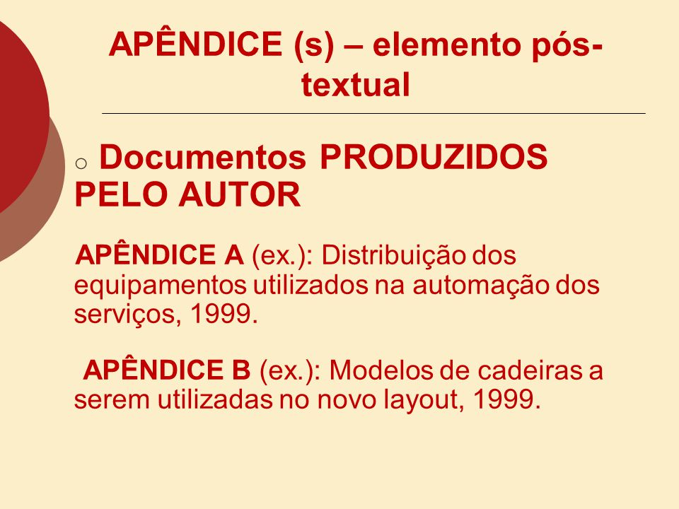 APÊNDICE (s) – elemento pós-textual