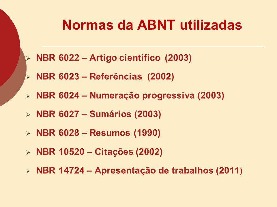 Normas da ABNT utilizadas