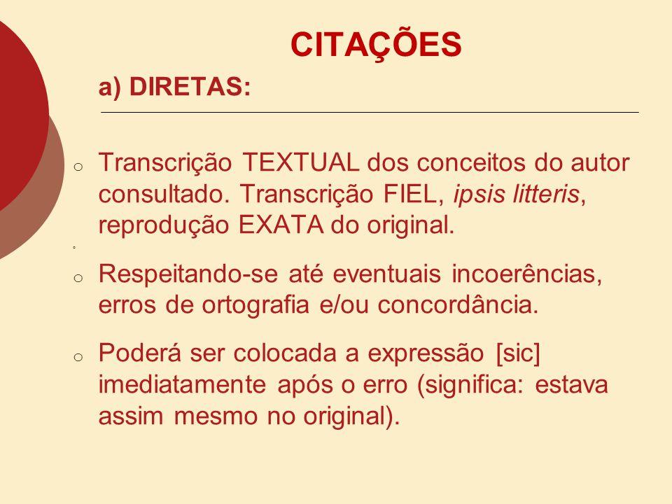 CITAÇÕES a) DIRETAS: Transcrição TEXTUAL dos conceitos do autor consultado. Transcrição FIEL, ipsis litteris, reprodução EXATA do original.