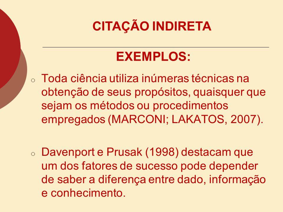 CITAÇÃO INDIRETA EXEMPLOS: