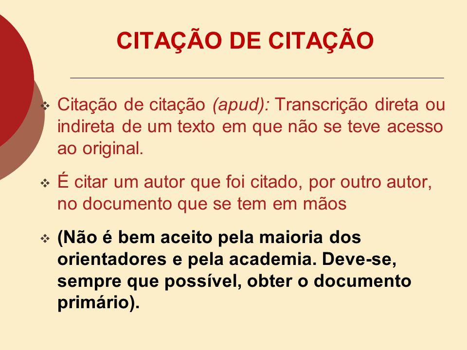CITAÇÃO DE CITAÇÃO Citação de citação (apud): Transcrição direta ou indireta de um texto em que não se teve acesso ao original.