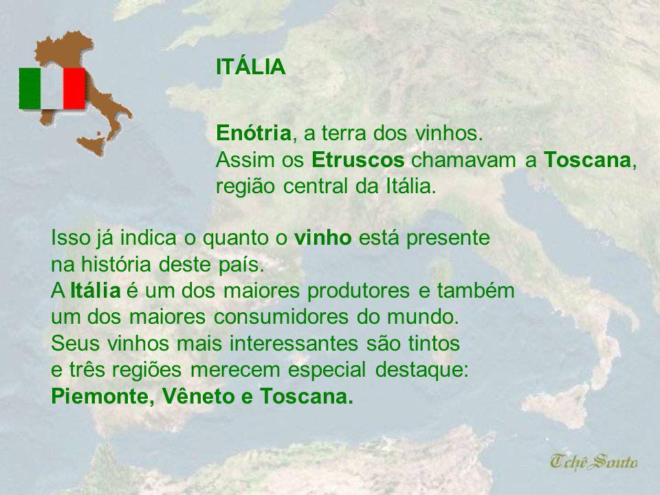 ITÁLIA Enótria, a terra dos vinhos. Assim os Etruscos chamavam a Toscana, região central da Itália.