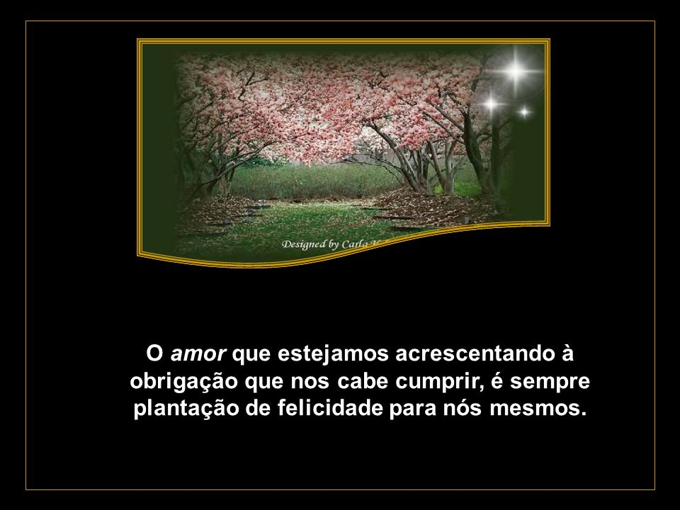 O amor que estejamos acrescentando à obrigação que nos cabe cumprir, é sempre plantação de felicidade para nós mesmos.