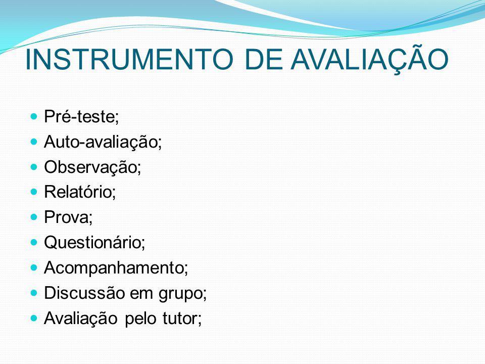 INSTRUMENTO DE AVALIAÇÃO