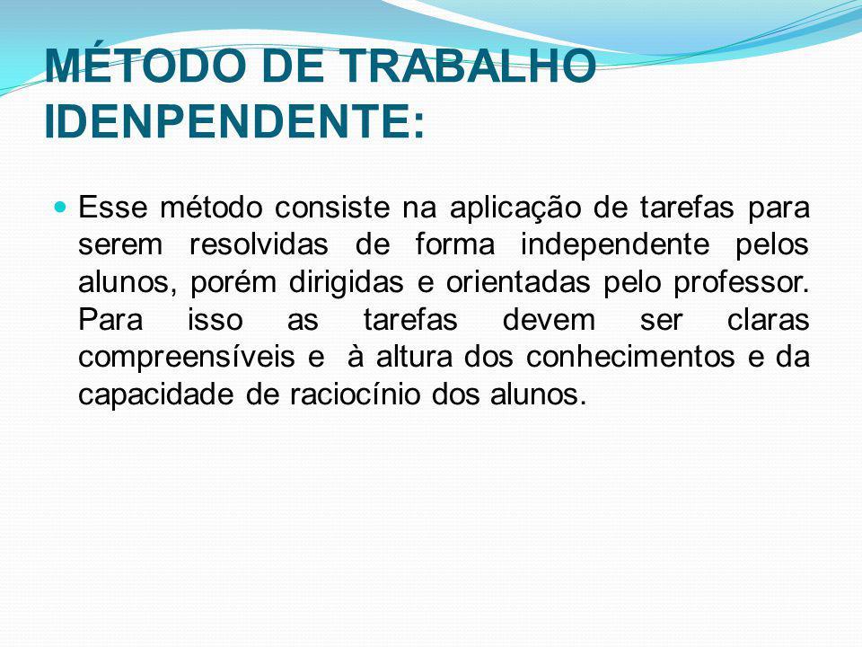 MÉTODO DE TRABALHO IDENPENDENTE: