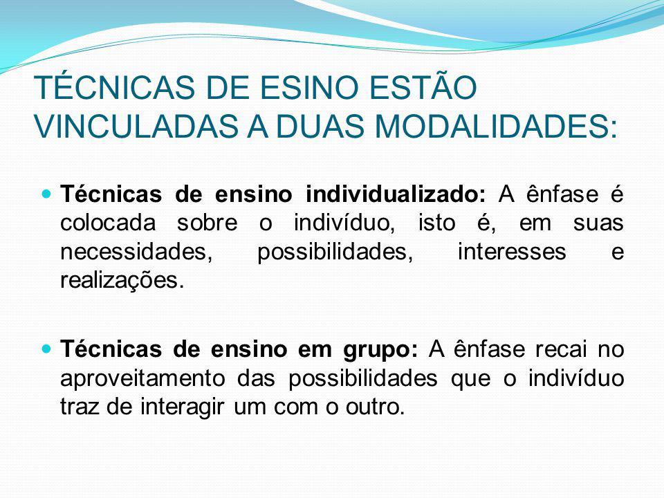 TÉCNICAS DE ESINO ESTÃO VINCULADAS A DUAS MODALIDADES: