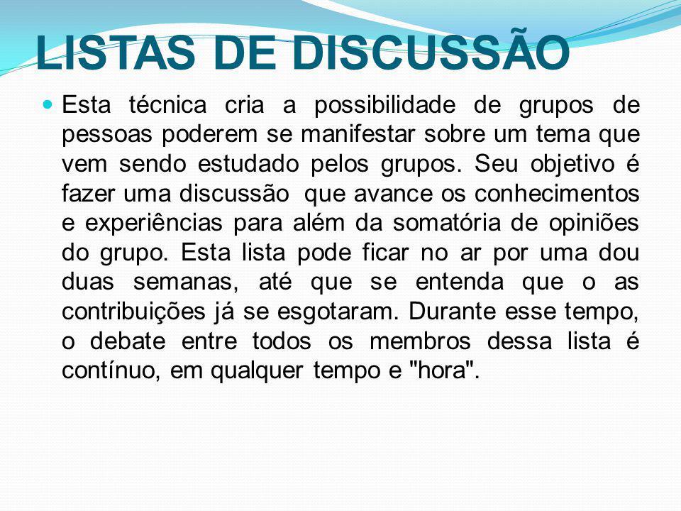 LISTAS DE DISCUSSÃO