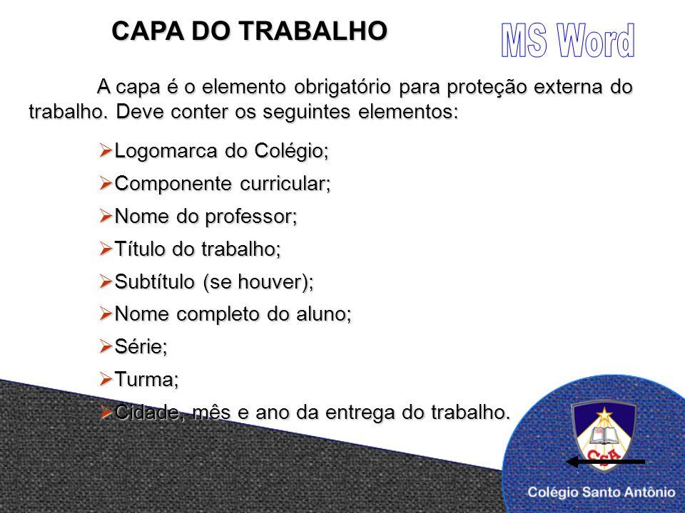 MS Word CAPA DO TRABALHO