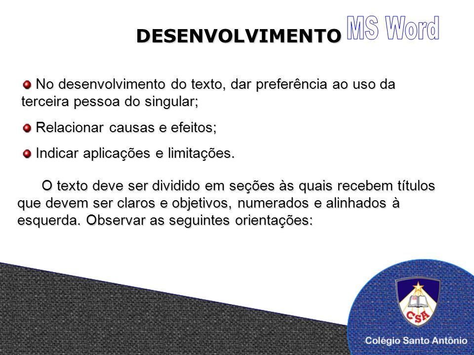 MS Word DESENVOLVIMENTO