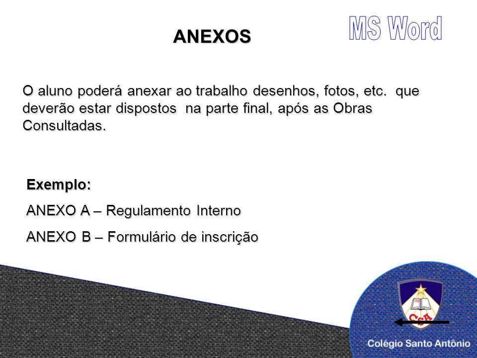 MS Word ANEXOS. O aluno poderá anexar ao trabalho desenhos, fotos, etc. que deverão estar dispostos na parte final, após as Obras Consultadas.