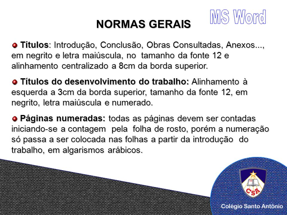 MS Word NORMAS GERAIS.
