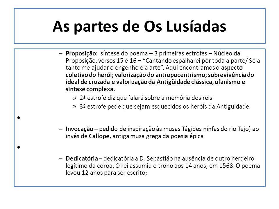 As partes de Os Lusíadas