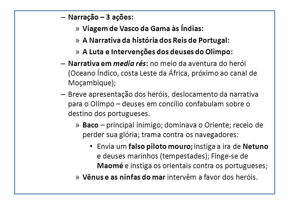 Narração – 3 ações: Viagem de Vasco da Gama às Índias: A Narrativa da história dos Reis de Portugal: