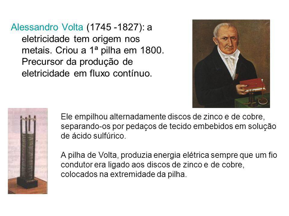Alessandro Volta (1745 -1827): a eletricidade tem origem nos metais