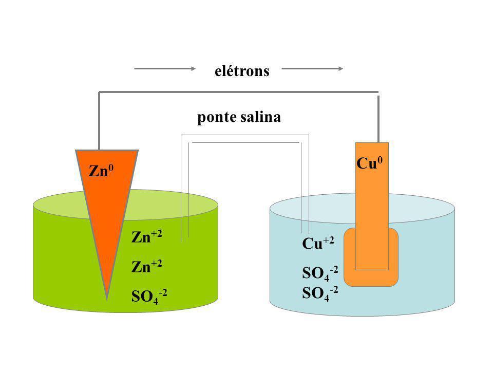 elétrons ponte salina Cu0 Zn0 Cu+2 SO4-2 SO4-2 Zn+2 SO4-2
