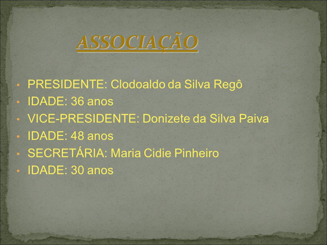 ASSOCIAÇÃO PRESIDENTE: Clodoaldo da Silva Regô IDADE: 36 anos