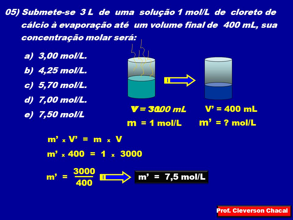 05) Submete-se 3 L de uma solução 1 mol/L de cloreto de