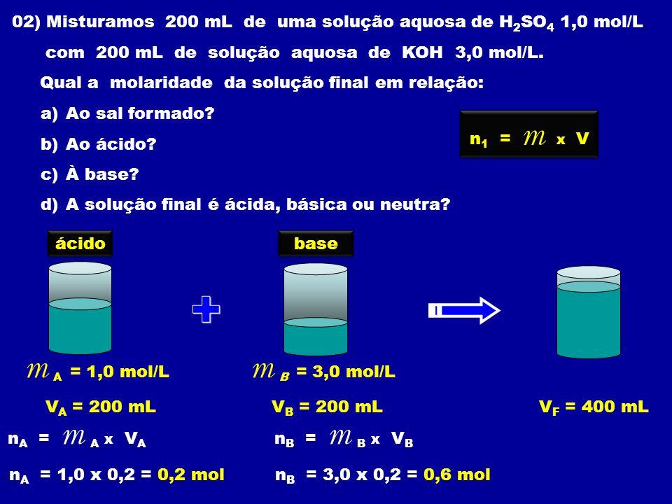 02) Misturamos 200 mL de uma solução aquosa de H2SO4 1,0 mol/L