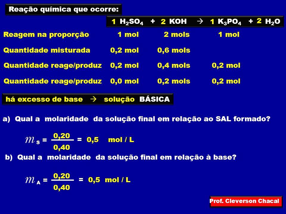 m S = m A = Reação química que ocorre: H2SO4 + KOH  K3PO4 + H2O 1 2 1