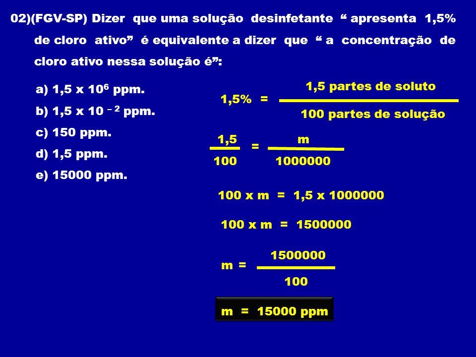 02)(FGV-SP) Dizer que uma solução desinfetante apresenta 1,5%
