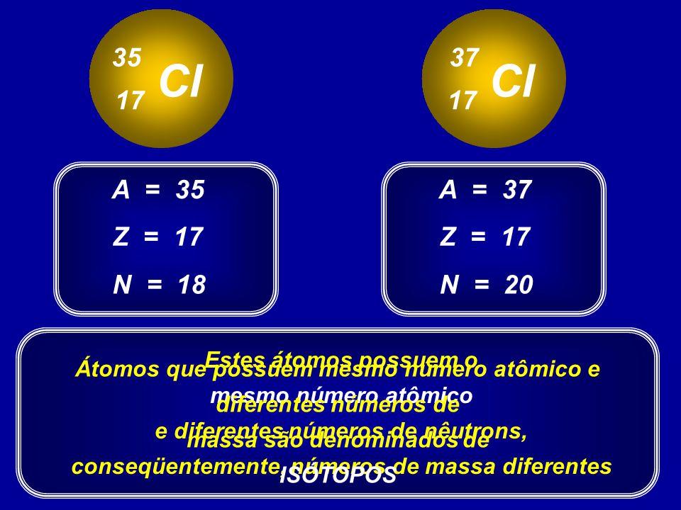 35 37. Cl. Cl. 17. 17. A = 35. A = 37. Z = 17. Z = 17. N = 18. N = 20. Estes átomos possuem o.