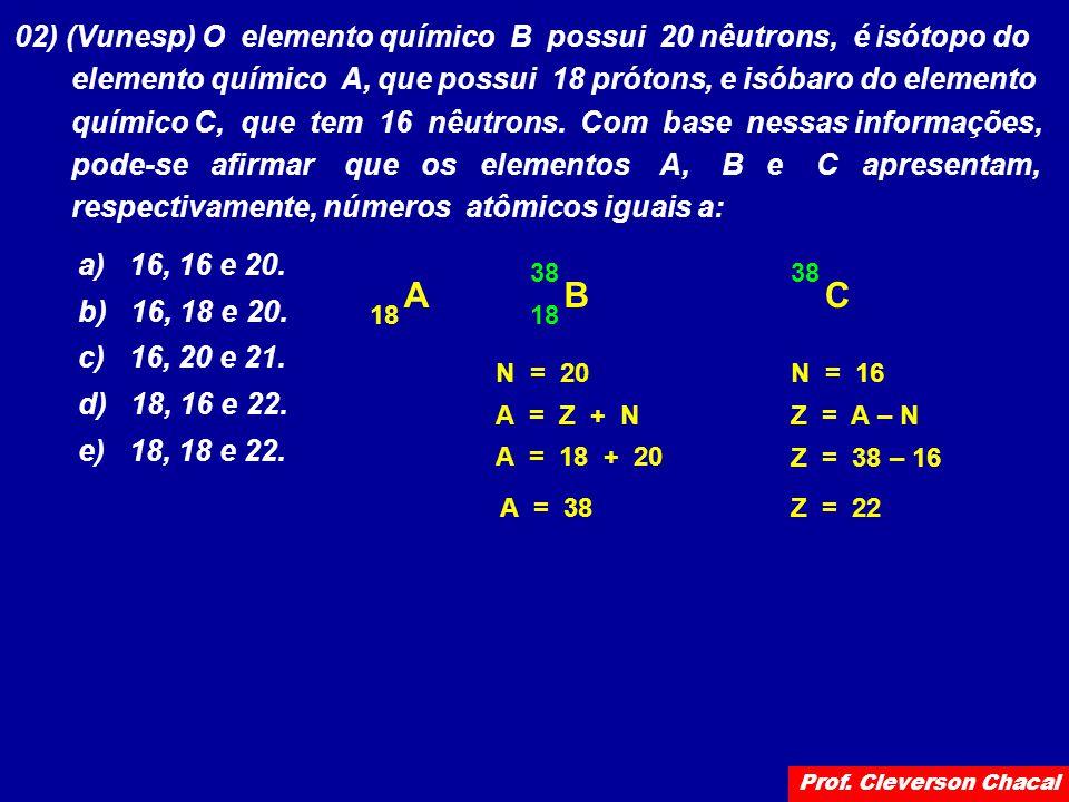 02) (Vunesp) O elemento químico B possui 20 nêutrons, é isótopo do