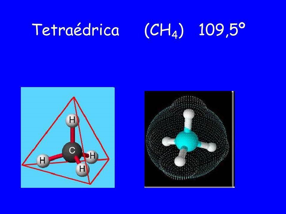 Tetraédrica (CH4) 109,5º