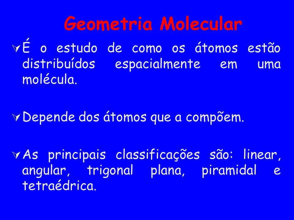 Geometria Molecular É o estudo de como os átomos estão distribuídos espacialmente em uma molécula. Depende dos átomos que a compõem.