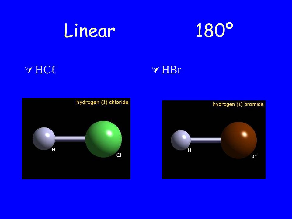 Linear 180º HCℓ HBr