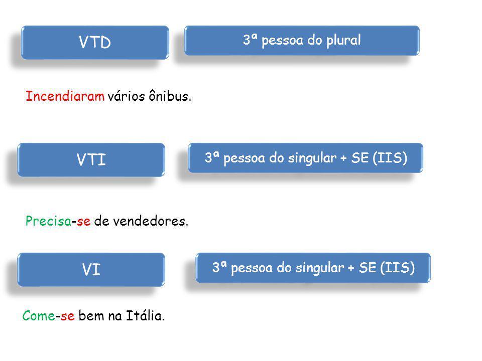 VTD VTI VI 3ª pessoa do plural Incendiaram vários ônibus.