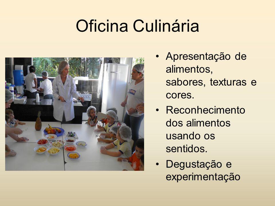 Oficina Culinária Apresentação de alimentos, sabores, texturas e cores. Reconhecimento dos alimentos usando os sentidos.