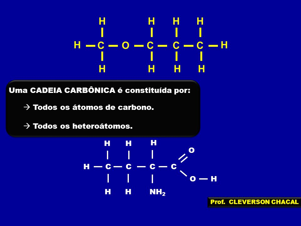 H O C Uma CADEIA CARBÔNICA é constituída por: