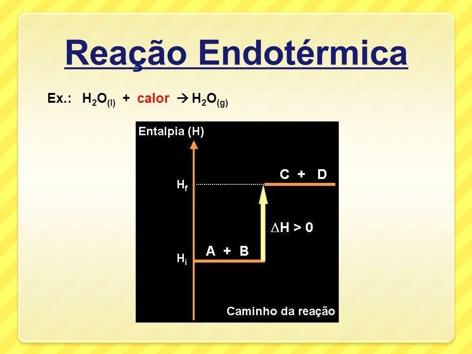Reação Endotérmica Ex.: H2O(l) + calor  H2O(g)
