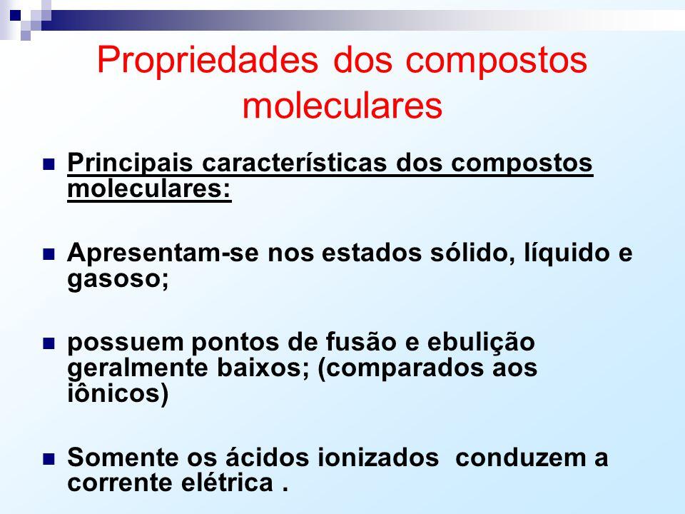 Propriedades dos compostos moleculares