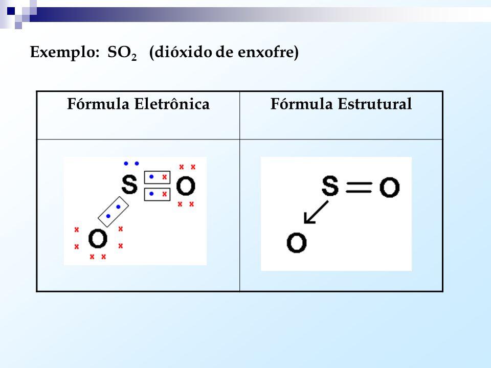 Exemplo: SO2 (dióxido de enxofre)