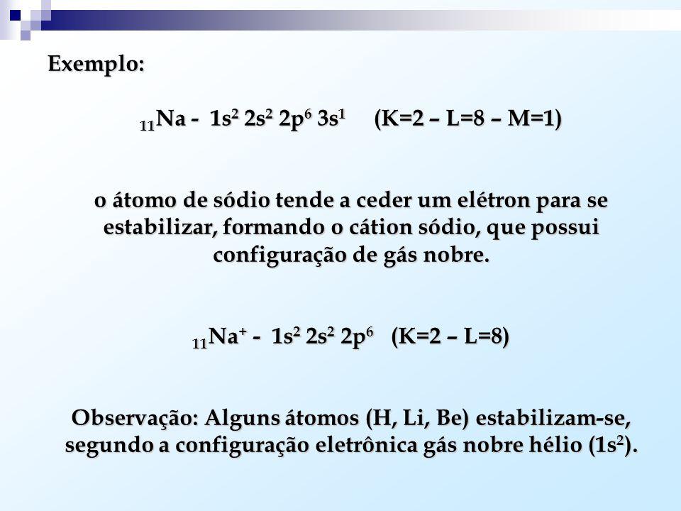 Exemplo: 11Na - 1s2 2s2 2p6 3s1 (K=2 – L=8 – M=1)